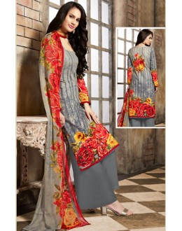 Office Wear Grey Cotton Palazzo Suit  - 78264