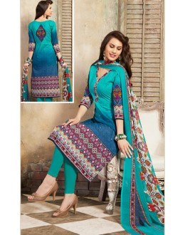 Festival Wear Turquoise Cotton Salwar Suit  - 78267