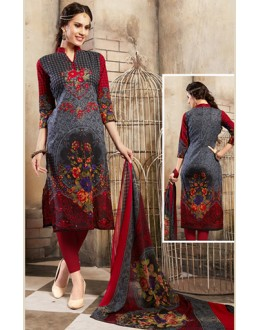 Ethnic Wear Grey & Maroon Cotton Salwar Suit  - 78270