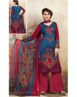 Casual Wear Blue & Pink Cotton Palazzo Suit  - 78271