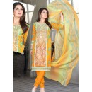 Office Wear Yellow Cotton Salwar Suit  - 78272