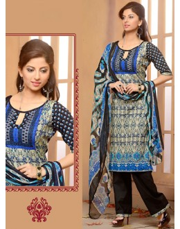Office Wear Beige & Black Cotton Salwar Suit  - 78273