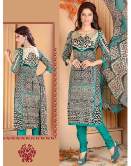 Festival Wear Grey & Green Cotton Salwar Suit  - 78275