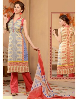 Casual Wear Beige & Red Cotton Palazzo Suit  - 78276