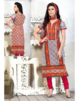 Festival Wear Grey & Pink Cotton Salwar Suit  - 78279