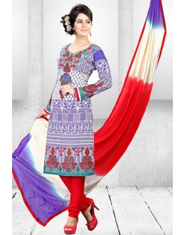 Ethnic Wear Multi-Colour Cotton Salwar Suit  - 78280