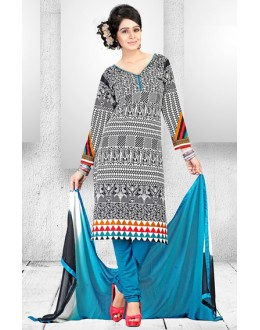Casual Wear Multi-Colour Cotton Salwar Suit  - 78282