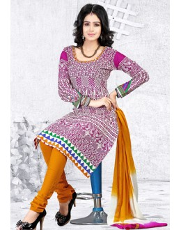 Ethnic Wear Multi-Colour Cotton Salwar Suit  - 78283