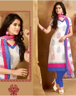 Festival Wear Off White & Blue Cotton Salwar Suit  - 78286