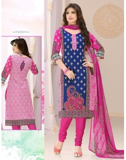 Festival Wear Blue & Pink Cotton Salwar Suit  - 78287