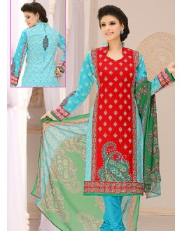Office Wear Red & Sky Blue Cotton Salwar Suit  - 78288