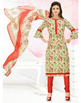 Casual Wear Cream & Red Cotton Salwar Suit  - 78289