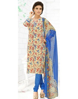 Casual Wear Cream & Blue Cotton Salwar Suit  - 78290