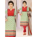 Festival Wear Cream & Red Cotton Salwar Suit  - 78292