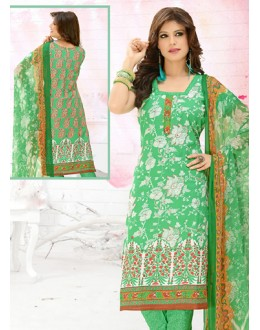 Office Wear Green Cotton Salwar Suit  - 78294