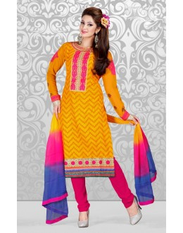 Ethnic Wear Yellow & Pink Cotton Salwar Suit  - 78299