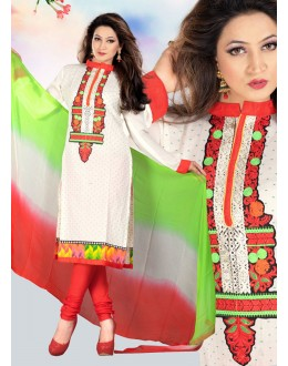Festival Wear Off White & Red Cotton Salwar Suit  - 78301