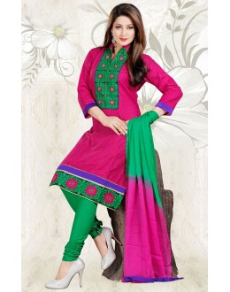 Festival Wear Pink & Green Cotton Salwar Suit  - 78302