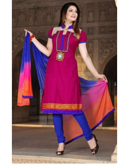 Office Wear Pink & Blue Cotton Salwar Suit  - 78304
