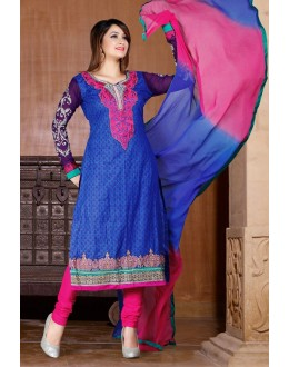 Ethnic Wear Blue & Pink Cotton Salwar Suit  - 78307