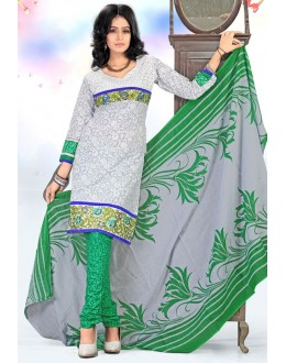 Office Wear White & Green Cotton Salwar Suit  - 78308