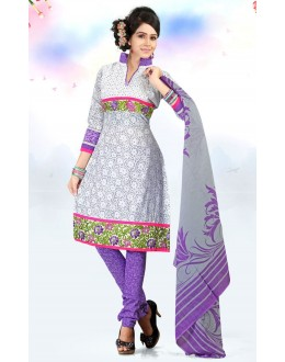 Office Wear White & Purple Cotton Salwar Suit  - 78309