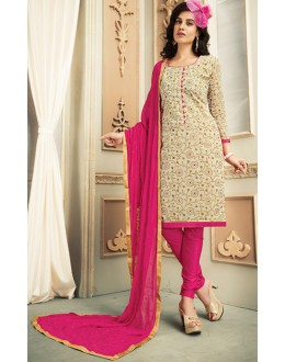 Office Wear Beige & Pink Chanderi Silk Salwar Suit  - 78311