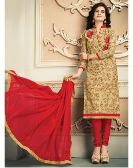 Office Wear Beige & Red Chanderi Silk Salwar Suit  - 78312
