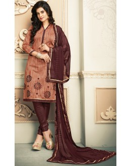 Office Wear Brown Chanderi Silk Salwar Suit  - 78313