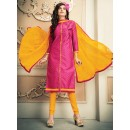 Office Wear Pink & Yellow Chanderi Silk Salwar Suit  - 78314