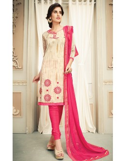 Casual Wear Beige & Pink Chanderi Silk Salwar Suit  - 78315