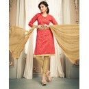 Office Wear Red & Beige Chanderi Silk Salwar Suit  - 78316