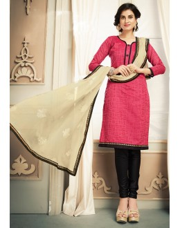 Casual Wear Pink & Black Chanderi Silk Salwar Suit  - 78319