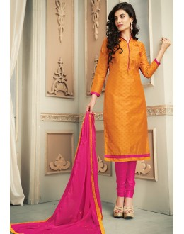 Ethnic Wear Orange & Pink Chanderi Silk Salwar Suit  - 78320