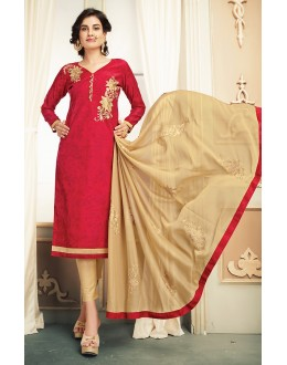 Ethnic Wear Red & Brown Chanderi Silk Salwar Suit  - 78322