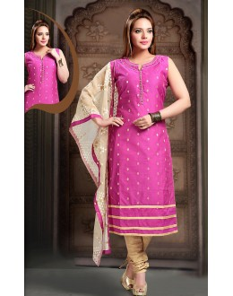 Party Wear Readymade Pink Art Silk Salwar Suit - 78342