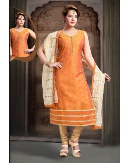Ethnic Wear Readymade Orange Art Silk Salwar Suit - 78343
