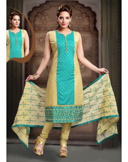 Festival Wear Readymade Turquoise Art Silk Salwar Suit - 78345