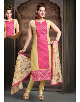 Festival Wear Readymade Pink Art Silk Salwar Suit - 78346