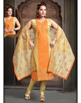 Festival Wear Readymade Orange Art Silk Salwar Suit - 78348