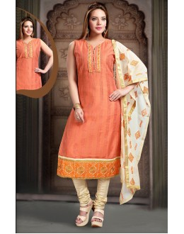 Office Wear Readymade Orange Art Silk Salwar Suit - 78349