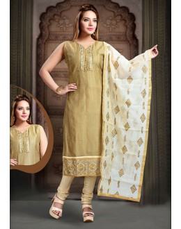 Ethnic Wear Readymade Brown Art Silk Salwar Suit - 78350