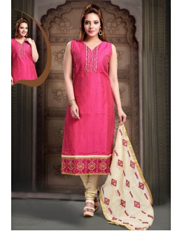 Office Wear Readymade Pink Art Silk Salwar Suit - 78351