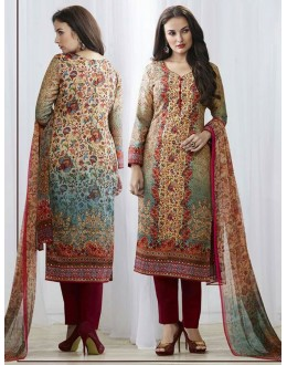 Office Wear Beige & Maroon Pasmina Silk Salwar Suit  - 78380