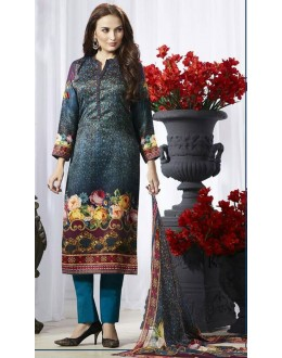Ethnic Wear Blue Pasmina Silk Salwar Suit  - 78381