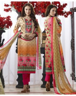 Office Wear Yellow & Pink Pasmina Silk Salwar Suit  - 78382