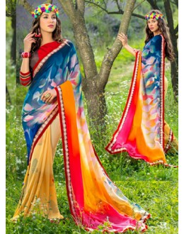 Party Wear Multi-Colour Georgette Saree  - 78593