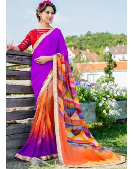 Casual Wear Purple Georgette Saree  - 78595