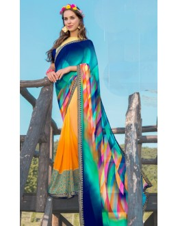 Casual Wear Blue & Orange Georgette Saree  - 78597