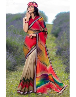 Festival Wear Multi-Colour Georgette Saree  - 78599